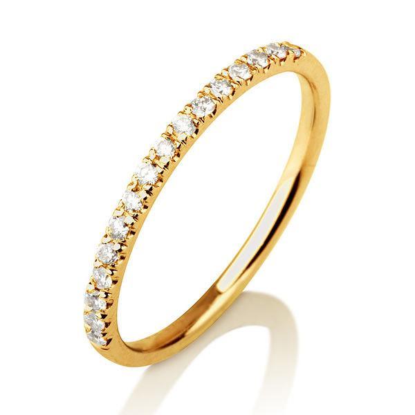 Thin Wedding Band 14K Gold Wedding Ring 02 TCW Classic Diamond