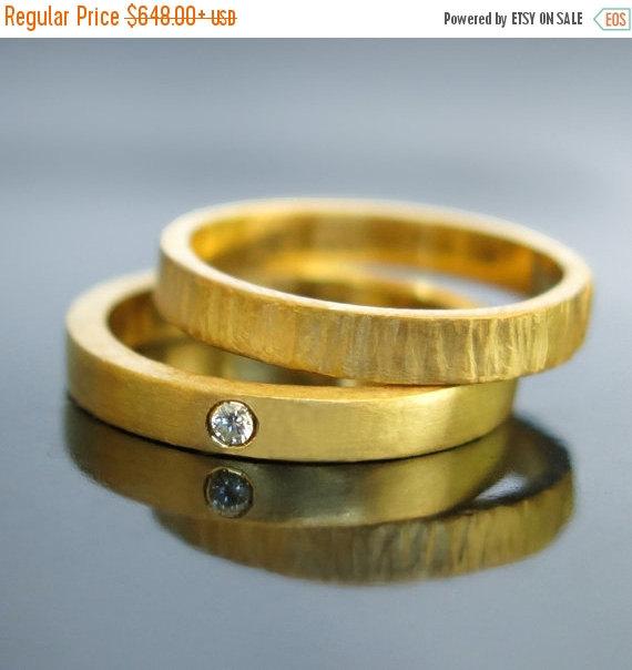 Свадьба - 20% sale Unique wedding ring set, His and hers wedding rings, 14k 18k, Modern wedding bands, Diamond ring set, Engagement ring set, Simple g