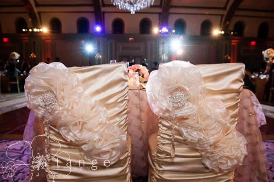 Two Wedding Chair Covers Princess Style For The Bride And Groom Quinceanera Or Special Event Decorations