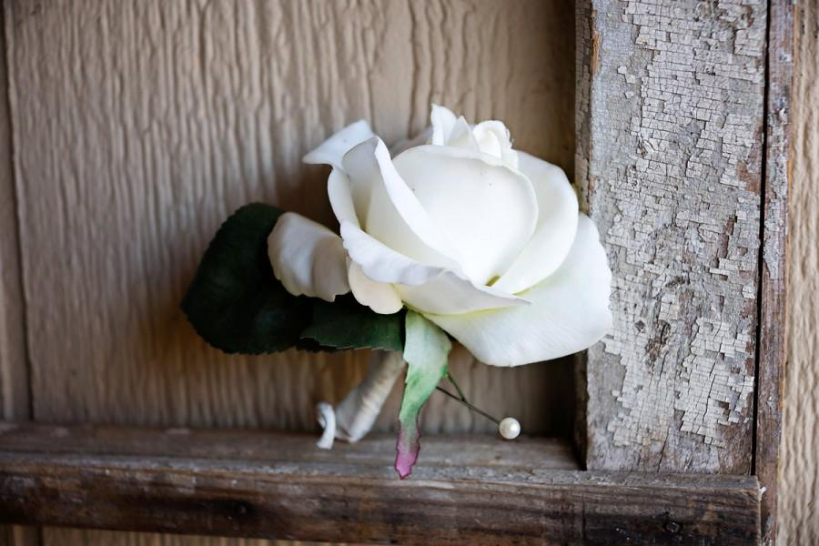 Wedding - White Rose Boutonniere