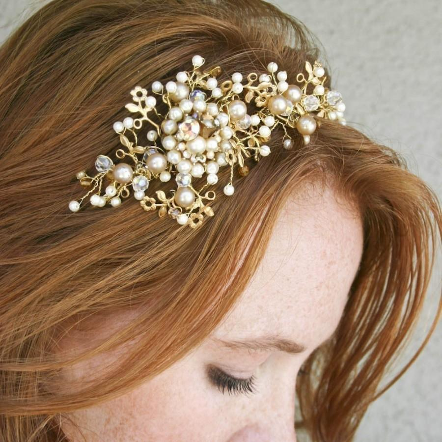 Mariage - Wedding Tiara Headband Vintage Dream Golden Tiara Bridal Hair Wedding Accessory