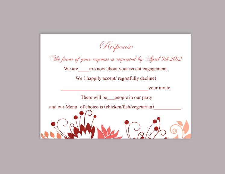 Diy wedding rsvp template editable word file instant download rsvp template printable rsvp card for Wedding rsvp templates