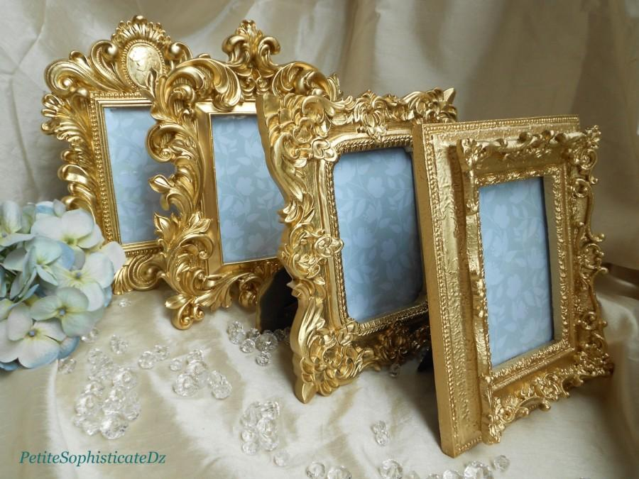 New! 4 Brilliant Gold Ornate Frames,French/Baroque Wedding Decor 4x6 ...