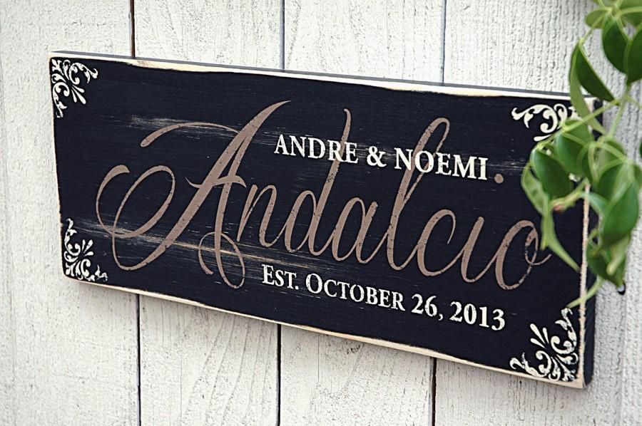 Wedding - Rustic Family Name Sign, Personalized with Last Name, Family Established Sign, Perfect Wedding Gift, Anniversary Gift, Rustic, Primitive