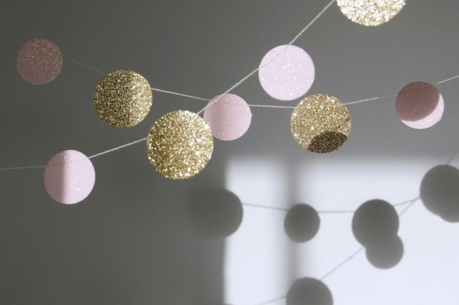 Hochzeit - Glitter Paper Garland, Gold and Pink, Bridal Shower, Baby Shower, Party Decorations, Birthday Decor