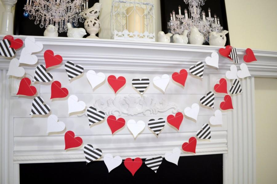 Paper Heart Garland Valentines Day Garland Queen Of Hearts