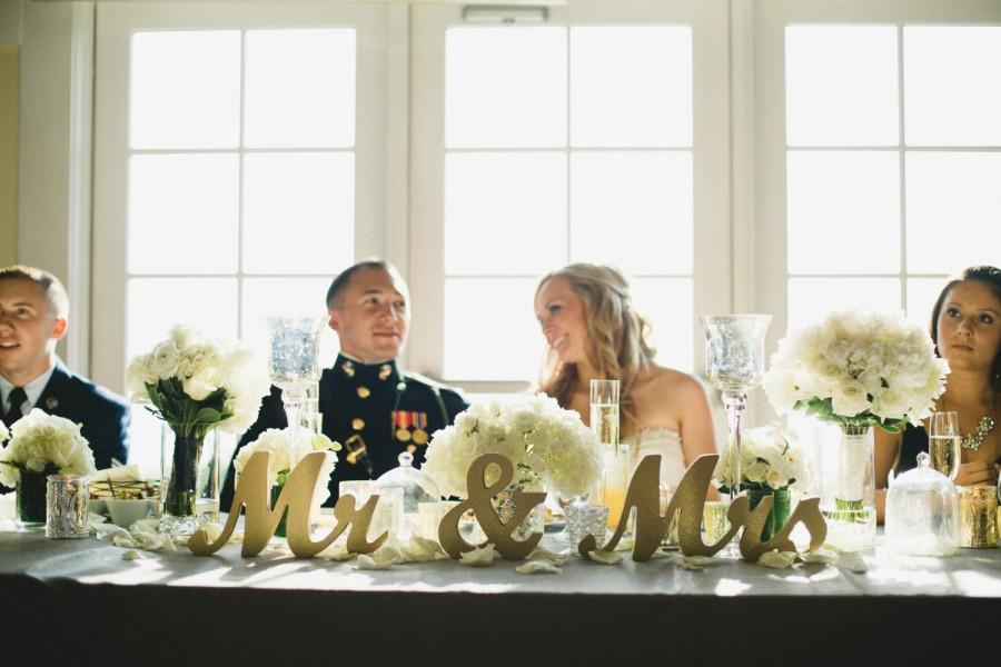 Wedding - Gold Glitter Mr and Mrs Wedding Signs for Sweetheart Table Decor Wooden Letters, Large Thick Wood Mr & Mrs Sign Set (Item - MTS100)