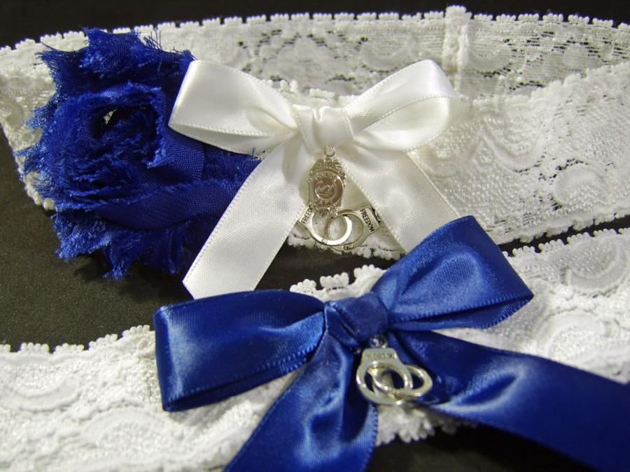 Mariage - Police Wedding Garter Set Dark Blue and White Stretch Lace with Handcuffs and Badge