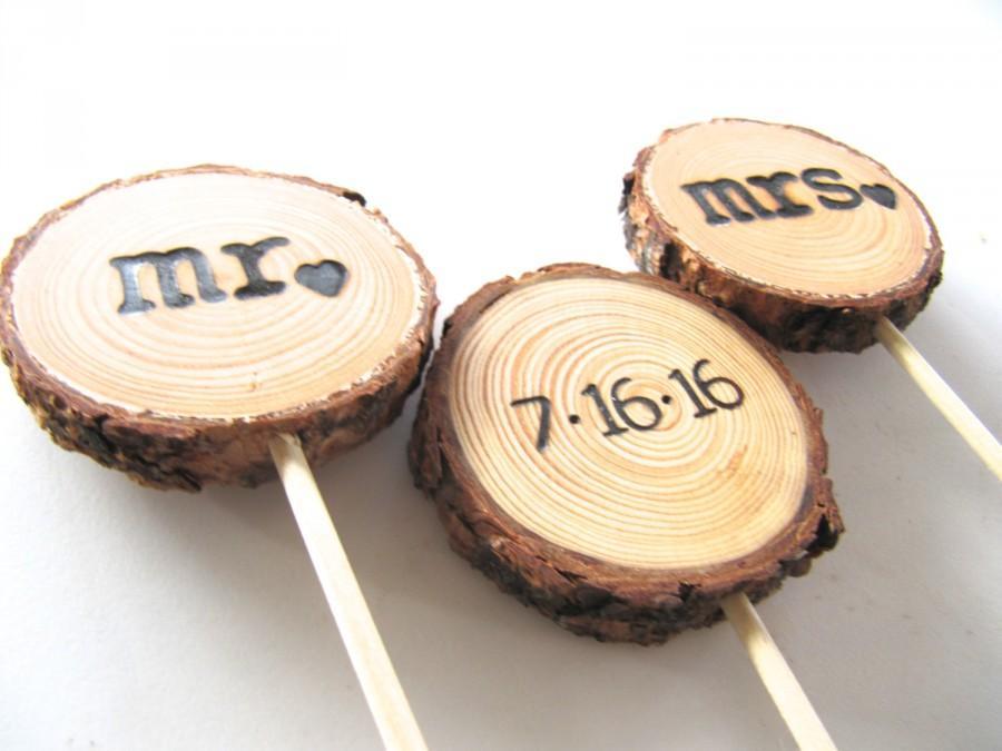 Mariage - Wedding Cake Topper, Wood Cake Topper, Wood Rustic Wedding Cake Topper, Wood Country Wedding