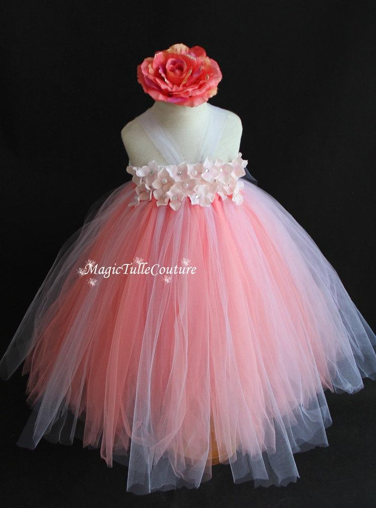 Wedding - Blush Peachy Pink and white flower girl tutu dress hydrangea tulle dress wedding dress toddler dress birthday party dress 1t2t3t4t5t6t7t8t9t