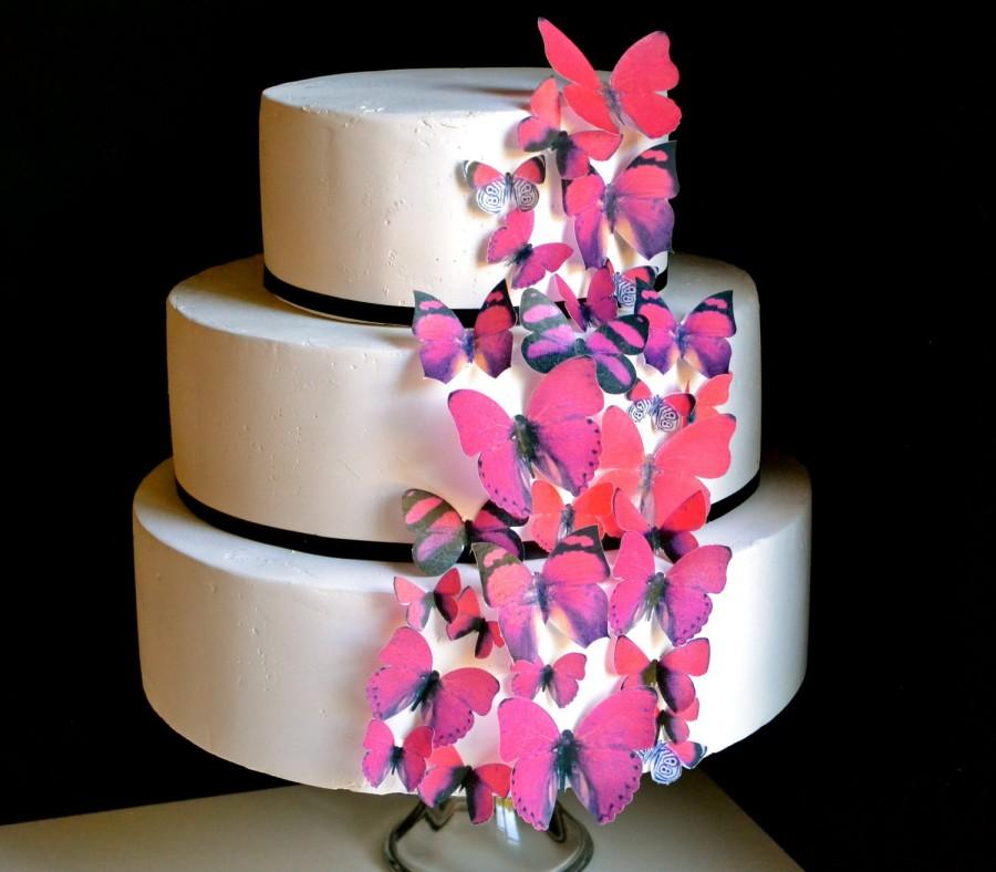 Свадьба - EDIBLE Butterflies The Original Assorted Red- Cake Topper set of 30 - Cake & Cupcake toppers -PRECUT and Ready to Use