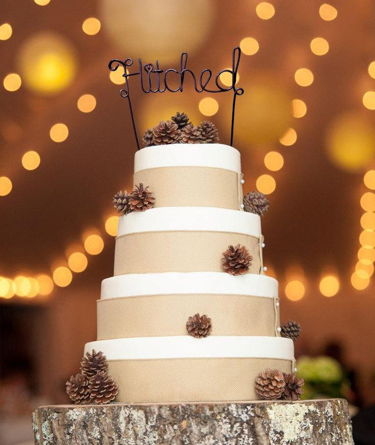 Свадьба - Wedding Cake Topper - Wire Cake Topper - Hitched Cake Topper - Personalized Cake Topper - Rustic Cake Topper - Name Cake Topper