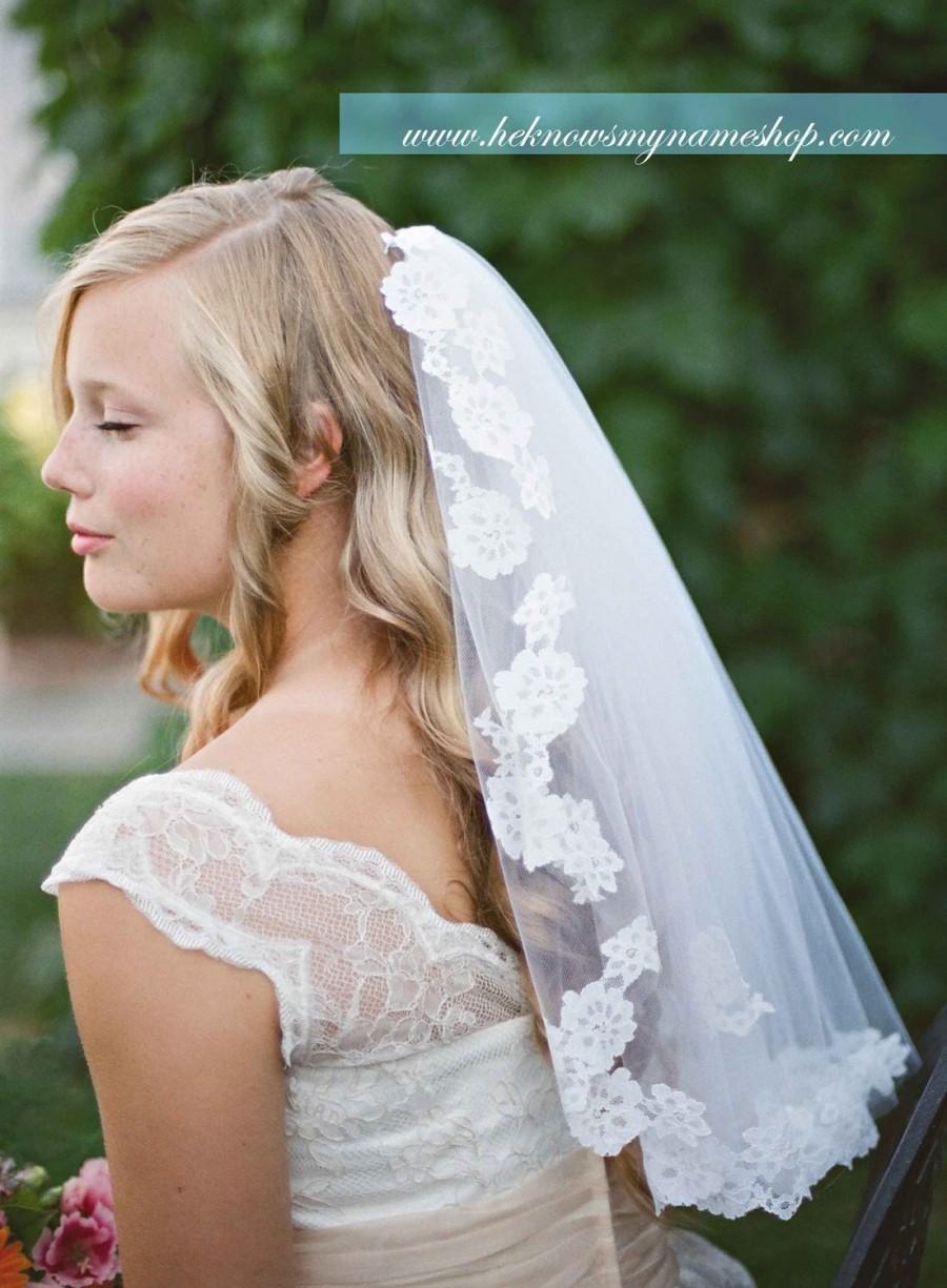 Wedding - Light Lace Touch Veil - wedding, mantilla veils, lace veil, art nouveau, alencon, white, ivory