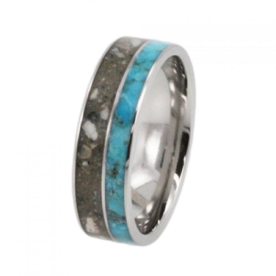 زفاف - Pet Memorial Rings Memorial Jewelry Titanium ring inlaid with Pets ashes and Turquoise, Personalized Pet Bereavement Ring, Patent Pending