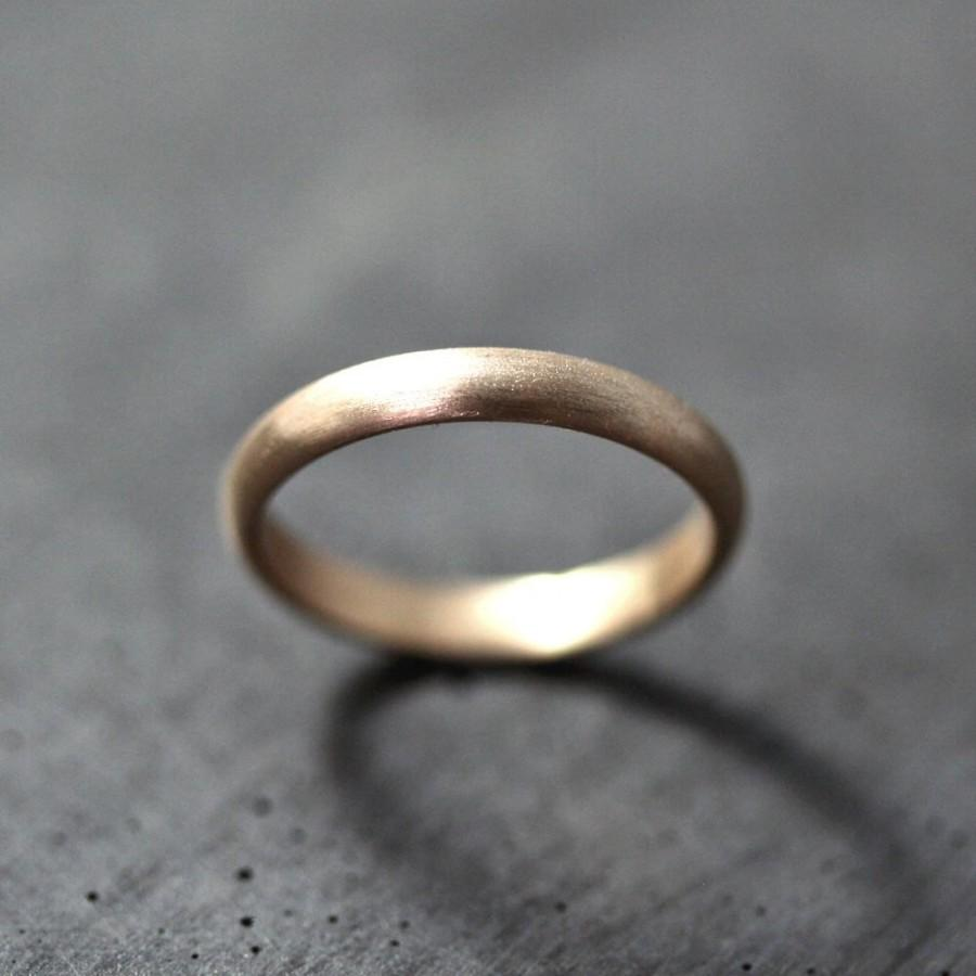 women's or men's gold wedding band, 3mm half round recycled 14k