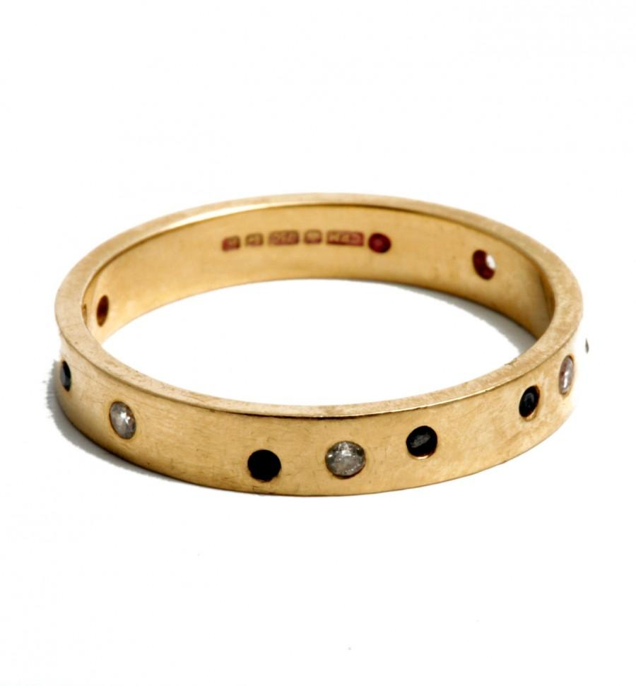 Mariage - Day and Night 18K yellow gold band with diamonds eternity wedding ring