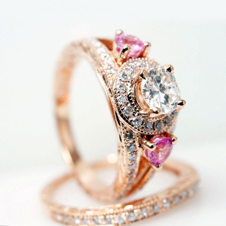 Vintage Style 14k Rose Gold Diamond Engagement Ring W Pink Sapphire Side Sto