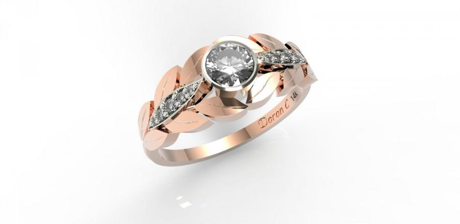 Mariage - Engagement ring 14k gold & diamond engagement ring, Leaves engagement ring, statment ring, Anniversary ring, DC1012