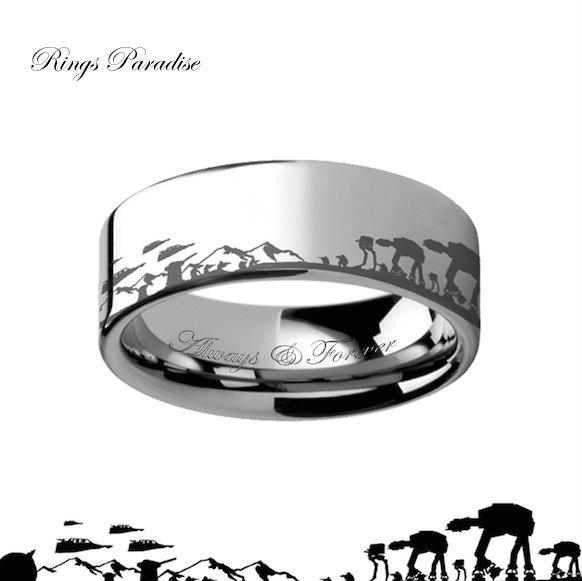Mariage - Star Wars Jewelry, Star Wars Gift, Star Wars Ring, Star Wars Band, Star Wars Engagement Ring, Tungsten, Star Wars Tungsten Ring Promise Ring