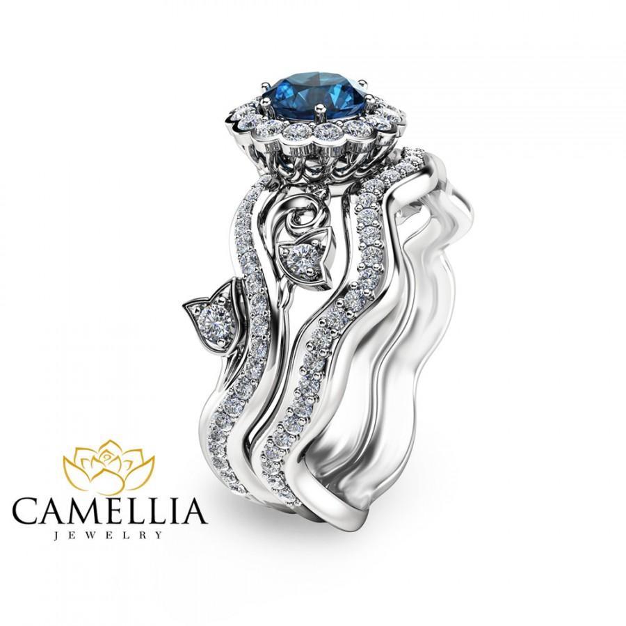 Unique Engagement Ring White Gold Blue Topaz Engagement Ring ...