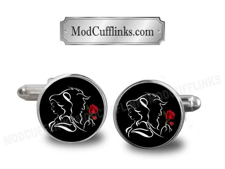 Mariage - Beauty And The Beast Cufflinks, A Printed Picture, Antique Bronze Or Silver Color 20mm Bezel, Dome Glass, Buy 3 Get 4th Free