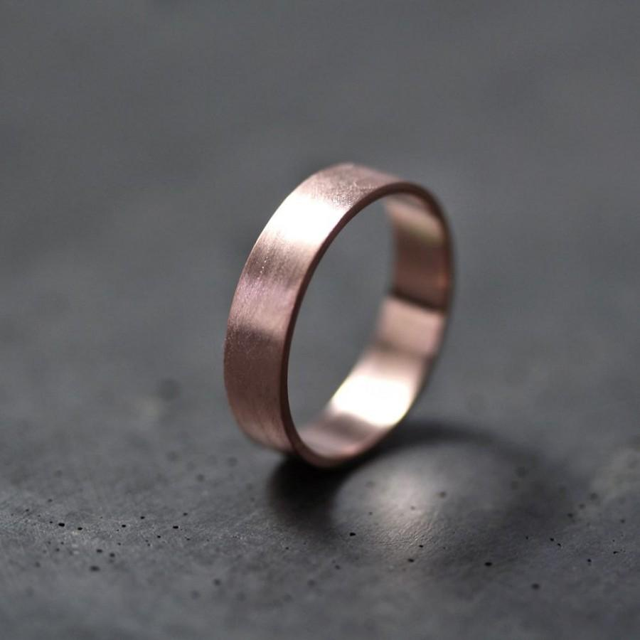 Rose Gold Mens Or Womens Wedding Band 5mm Flat Recycled 14k Red Gold Wedding Ring Rose Gold