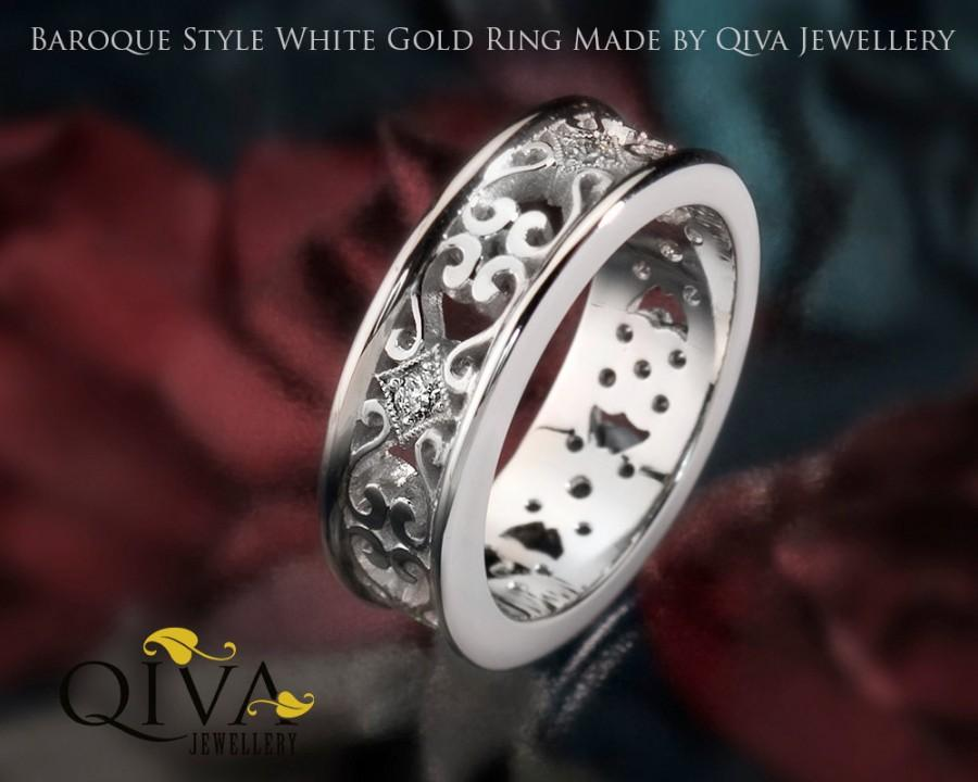 Unique Engagement Ring Filigree Style Wedding Band White Gold Diamond