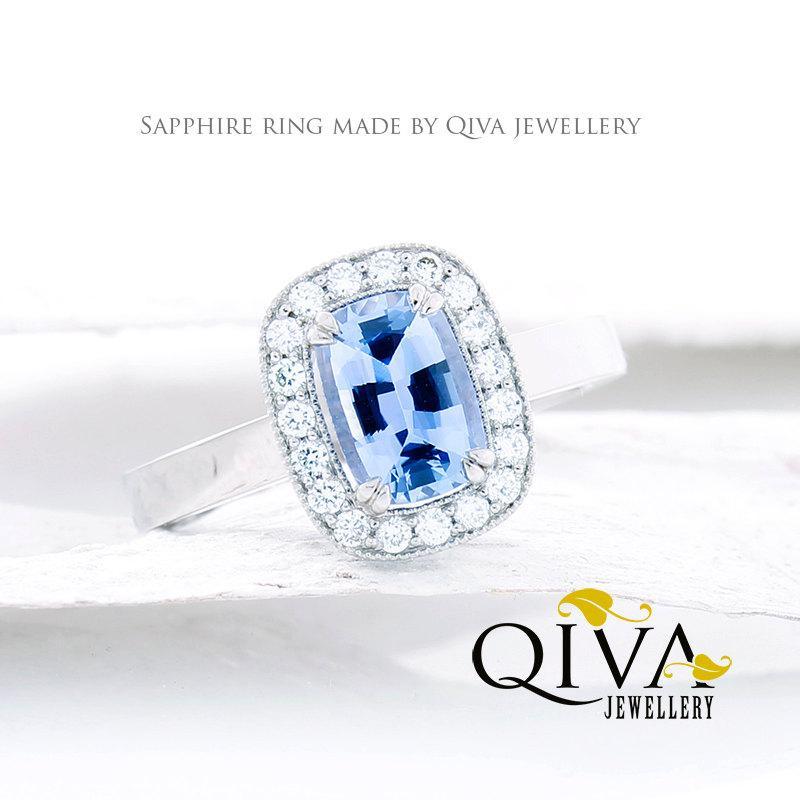 Свадьба - Ready to ship.Blue Sapphire Ring.Blue Sapphire Engagement Ring.White Gold Ring.Blue Sapphire Diamond Ring.Sapphire diamond engagement ring.