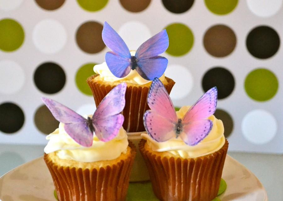 Mariage - Wedding Cake Topper Large Assorted Purple EDIBLE BUTTERFLIES - Wedding Cake & Cupcake toppers