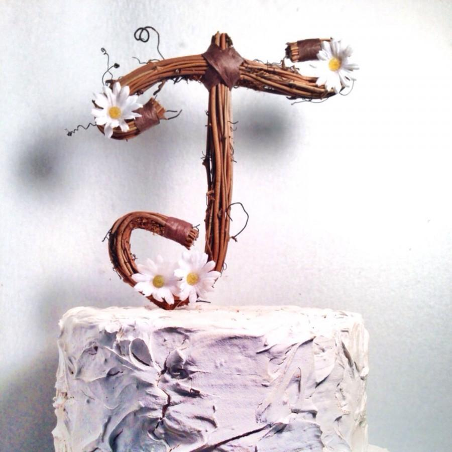 letter t rustic twig wedding cake topper