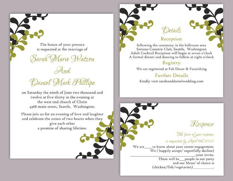 DIY Wedding Invitation Template Set Editable Word File Instant – Editable Leaf Template
