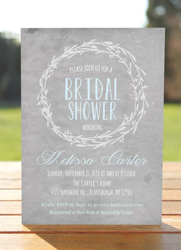 Rustic Bridal Shower Invitation Grey Watercolor Unique