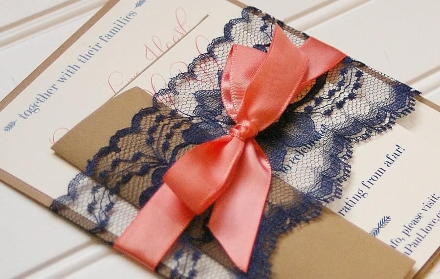 Navy And Coral Wedding Invitations. Lace Invitation. Rustic ...