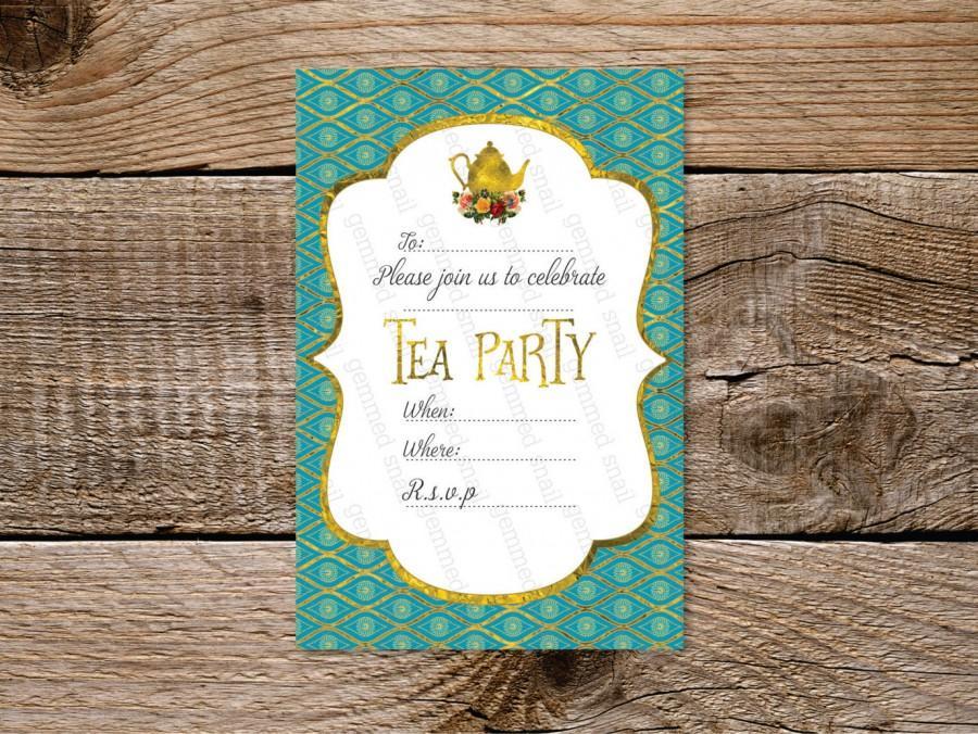 Tea Party Invitation Printable 6 X 4 Turquoise Gold Tea Party ...