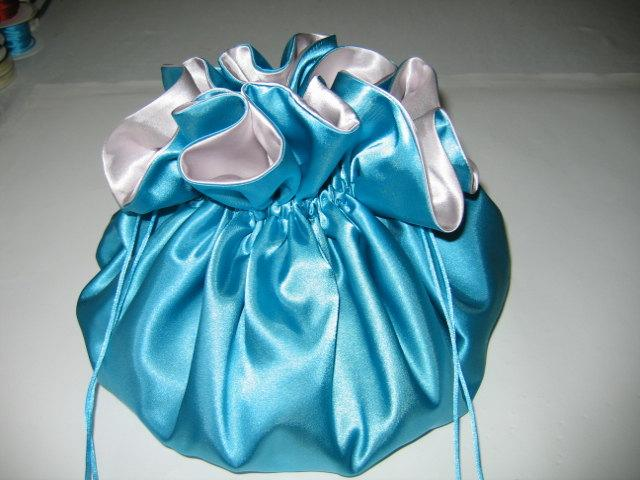 Wedding - Dollar Dance Wedding Bag Turquoise and Silver Satin Extra Large