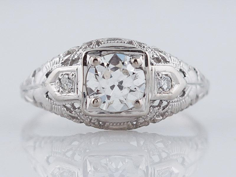 Mariage - Antique Engagement Ring Art Deco .60ct Old European Cut Diamond in 18k White Gold