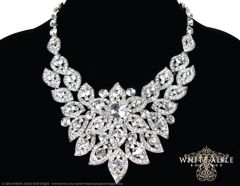 Свадьба - Bridal Statement Necklace, Wedding Statement Necklace, Crystal Necklace, Wedding Jewelry Set, Bridal Earrings
