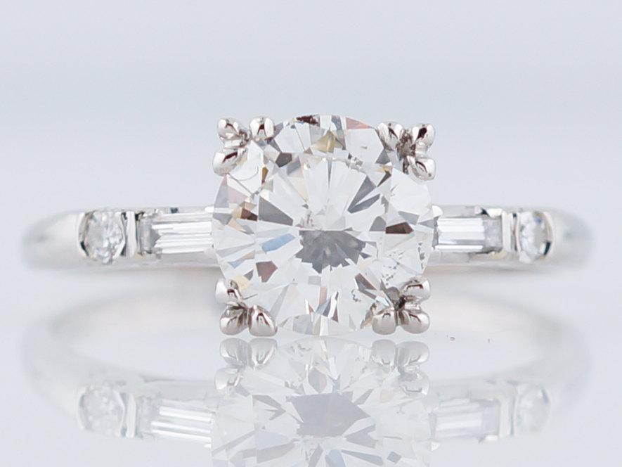 Mariage - Art Deco Engagement Ring Antique 1.51ct Round Brilliant Cut Diamond in Platinum