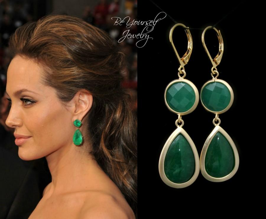 Emerald Green Earrings Angelina Jolie Gold Dark Teardrop Jade Celebrity Inspired Jewelry Bridesmaid