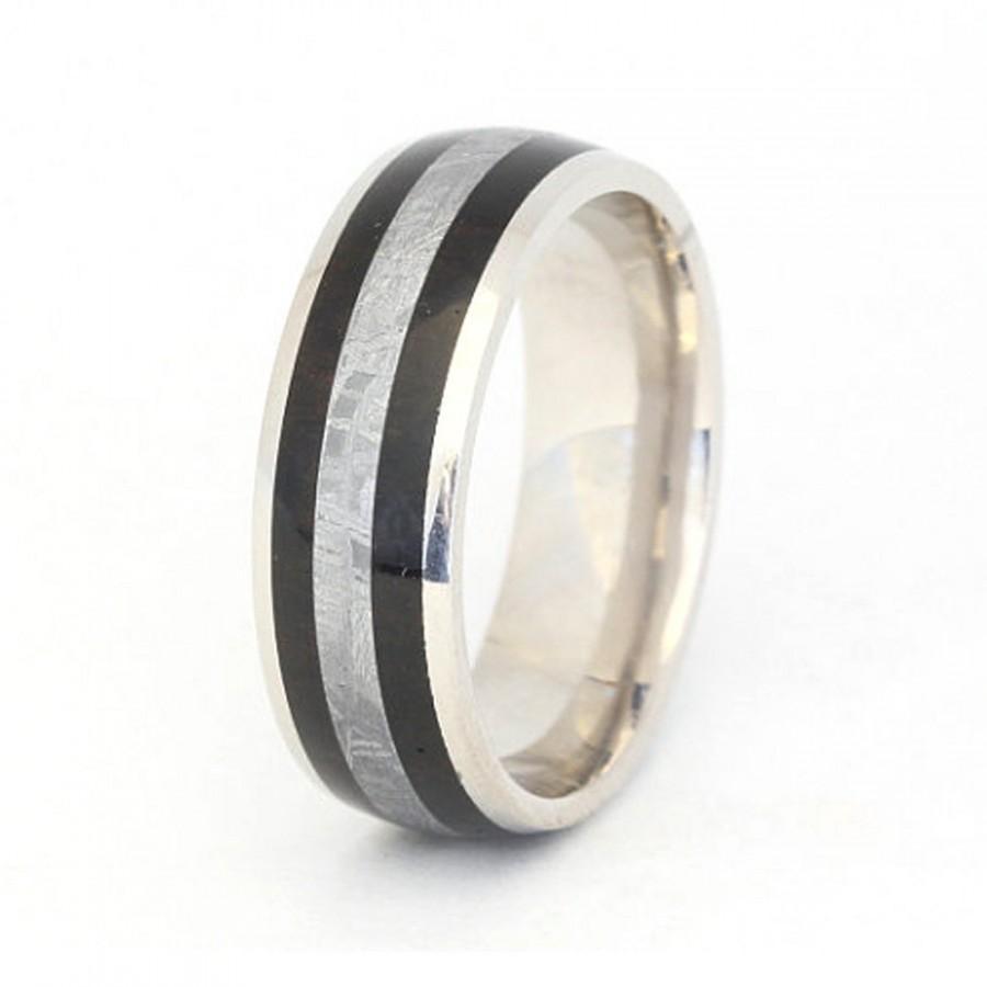 Mariage - Men's Wedding Ring, Palladium Band, Meteorite and Wood Ring