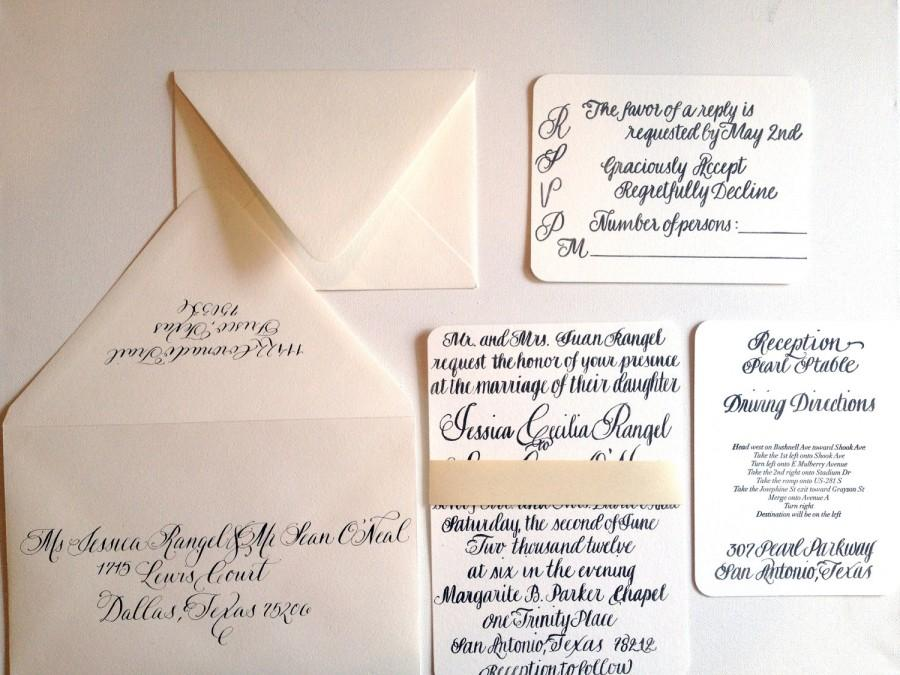 Wedding - Custom Calligraphy Letter Press Invitation Suite