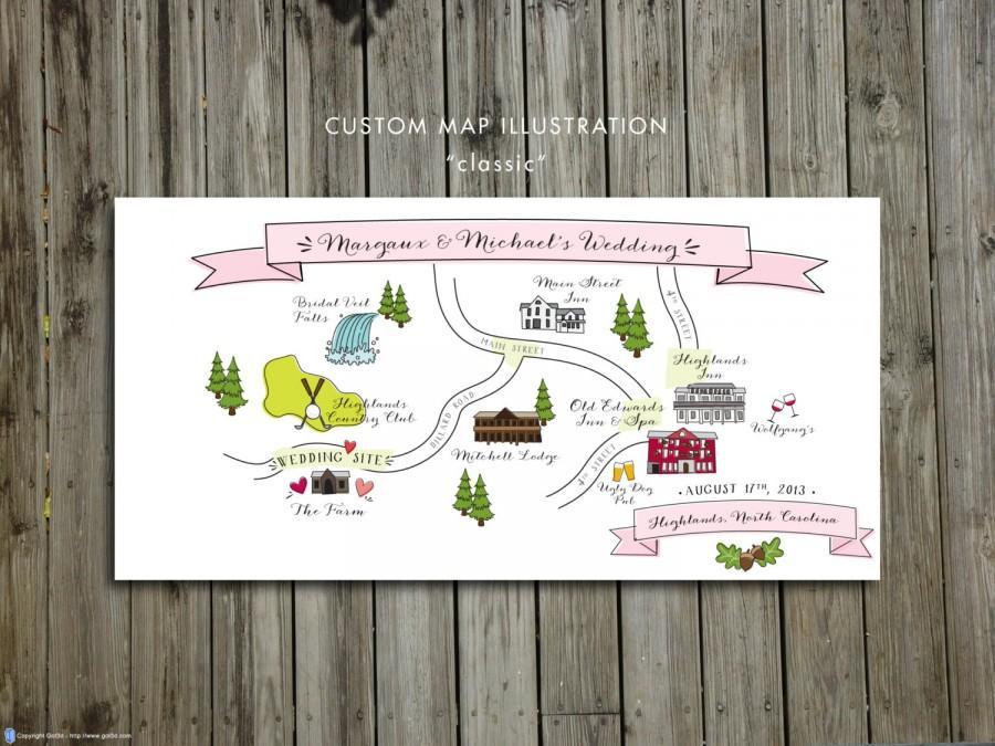 زفاف - Custom Wedding Map, JPress Designs, wedding, travel, guest guide, destination wedding, save the date, custom map, illustration, Highlands