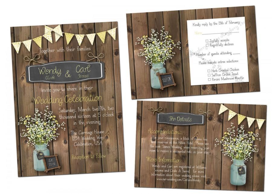 Wedding - Mason Jar Wedding Invitation Set, Rustic Wedding Invite, Mason Jar Invitation, Printable Wedding Set, Country Wedding, Mason Jar, Flowers