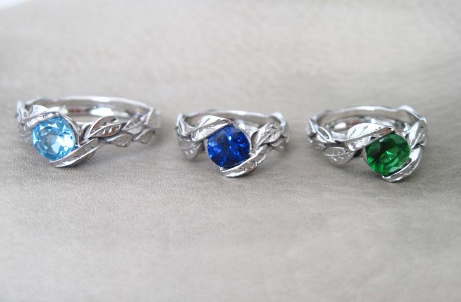 زفاف - VALENTINES SALE Leaf Engagement Ring, Sapphire Engagement Ring, White Gold Leaf Ring, Moonstone Leaf Ring, Leaves Ring, Emerald Leaves Ring