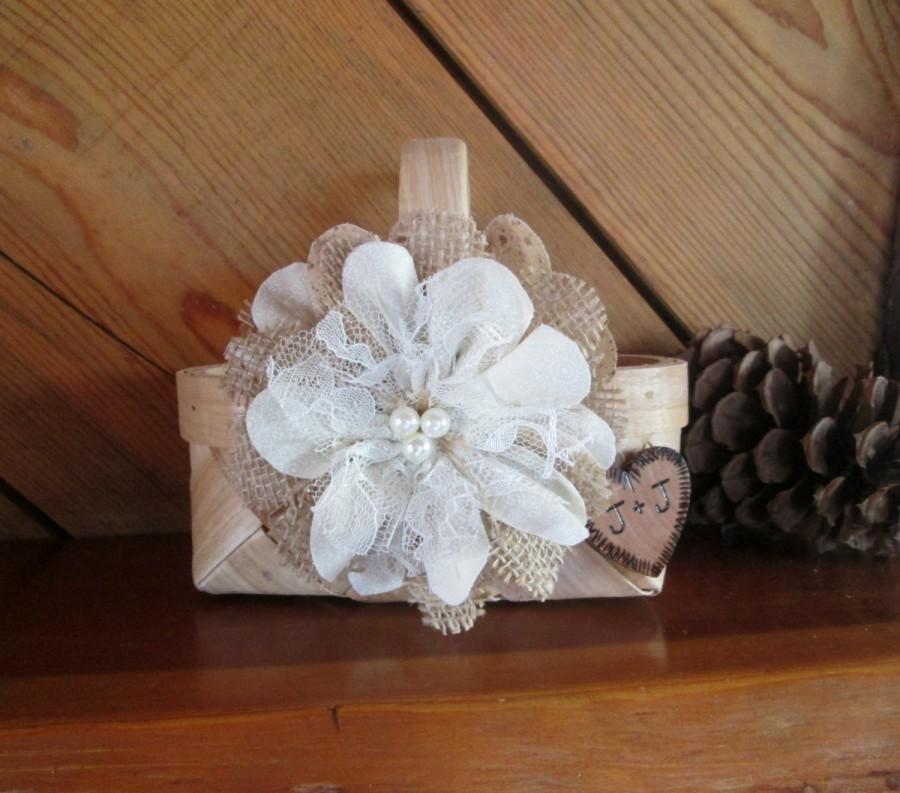 Mariage - Personalized Rustic Flower Girl Basket - Small Wedding Basket - Flower Girl Basket - Burlap Flower Girl Basket - Rustic Wedding -Flower Girl