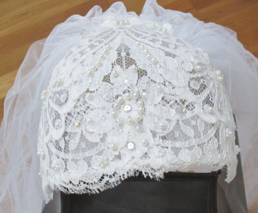 Wedding - Wedding Veil Double Long Cathedral Length Beaded Chantilly Lace Vintage Ivory White Bridal Fingertip Blusher Veil Brides Tulle Net Mantilla