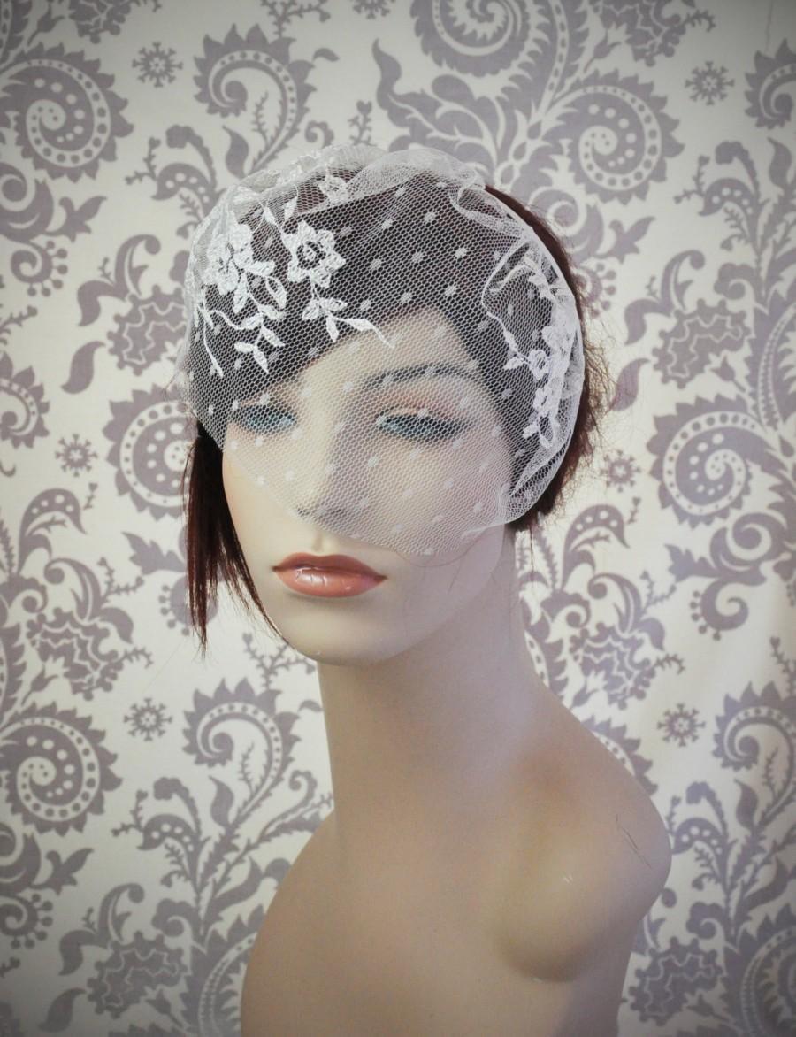 زفاف - Lace Birdcage Veil w/ Polka Dots, Satin Headband Veil w/ Flowers and Vines, Vintage Style Veil, Vintage, Woodland, white, Ivory - 125BC