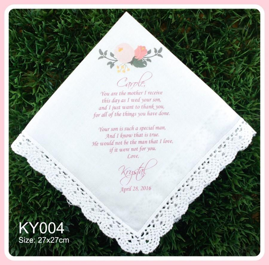 Mariage - Mother of the Groom Handkerchief from the Bride-Wedding Hankerchief-PRINTED-CUSTOMIZED-Wedding Hankies-Gifts to Mother in Law