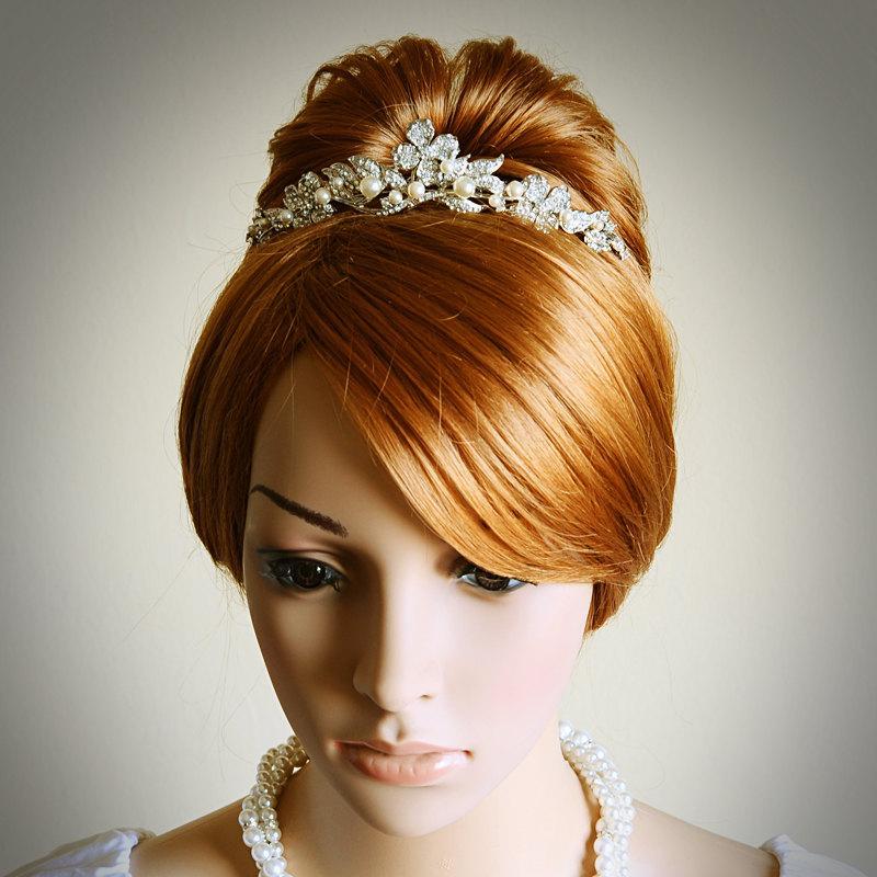 زفاف - CORINNE, Victorian Bridal Tiara, Vintage Style Wedding Tiara, SWAROVSKI Rhinestone and Pearl Bridal Crown, Flower Wedding Hair Accessories