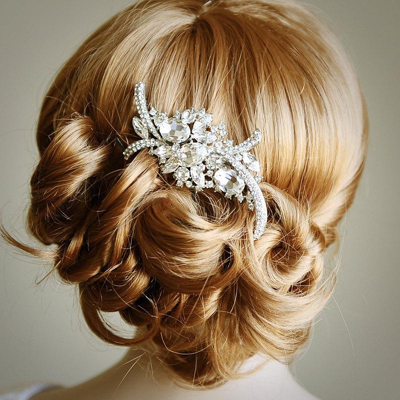 Whitney Bridal Hair Comb Art Deco Crystal Rhinestone Wedding Hair